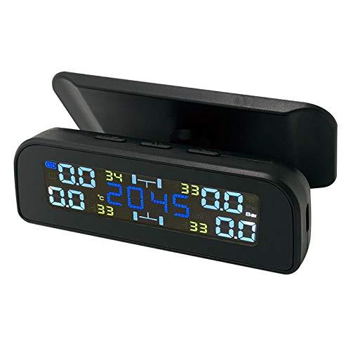 B Blesiya Sistema de Control de Presión de Neumáticos de Coche Solar, Panel de Ventana Recargable Por USB Solar con Pantalla LCD de 4 Sensores Externos - Sensor externo