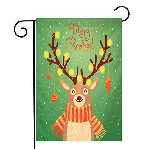 Christmas Garden Flags Double Sided Burlap Yard Flag,Christmas Card Cute Cartoon Deer With Garlands On The Horns,Winter Holiday Primitive Vintage House Outdoor Christmas Decorations,Burlap 12x18 In