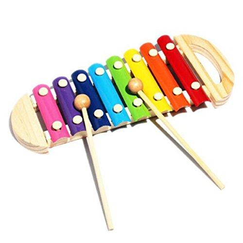 Vovotrade Juguetes musicales de madera de 8 notas xilófono para niños