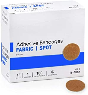 """Round Spot Flexible Fabric Adhesive Bandages, 1"""" Diameter, with Absorbent Non-Stick Pad for Wound Care, and First Aid. Tan Color, 100 Count."""