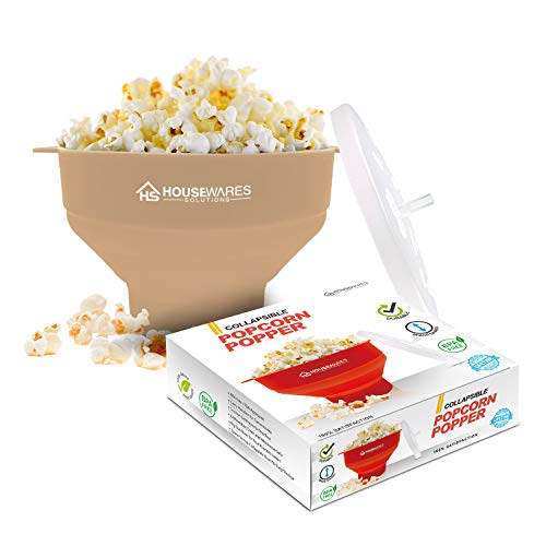 Collapsible Silicone Microwave Hot Air Popcorn Popper Bowl With Lid and Handles (Tan)