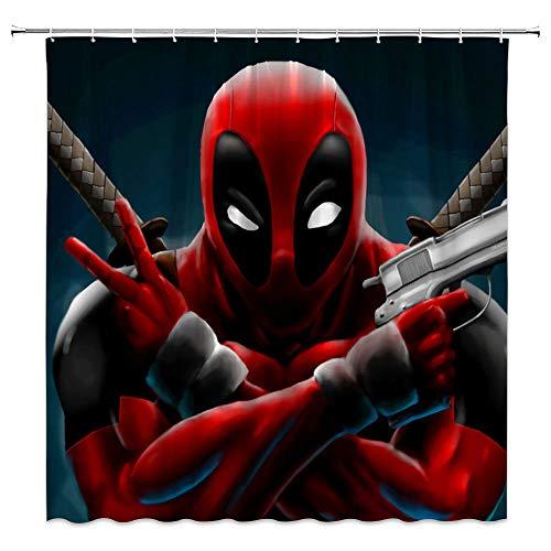 Superhelden-Duschvorhang, cooler Marvel Anime Hero mit Pistole, Samuraischwert, klassisches Siegerpost, Badezimmer-Dekor-Set mit Haken, 180 x 180 cm, Polyester, Rot / Grau