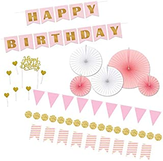 Beistle Pretty Pink & Glitter Gold Birthday Party Decorations Kit with Banner, Mini Streamers, Paper Fans, and Cake Topper
