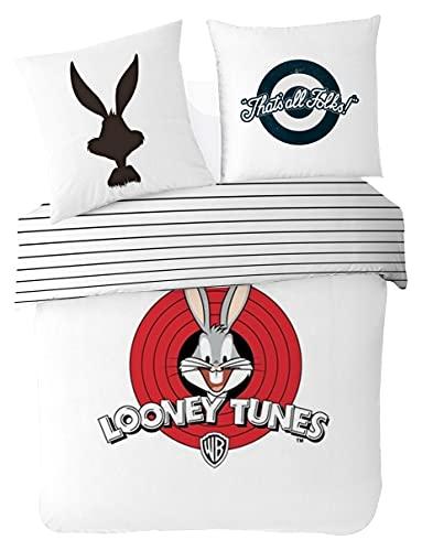 Looney Tunes – Funda nórdica Ado 200 x 200 cm + 2 Fundas de Almohada de 63 x 63 cm – Juego de Cama para 2 Personas – Blanco – 100% algodón