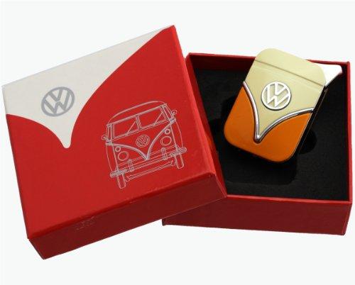 Original Volkswagen Feuerzeug im Frontschild Design - in verschiedenen Farben - Geschenkset (VW-Bulli-gelb-orange)