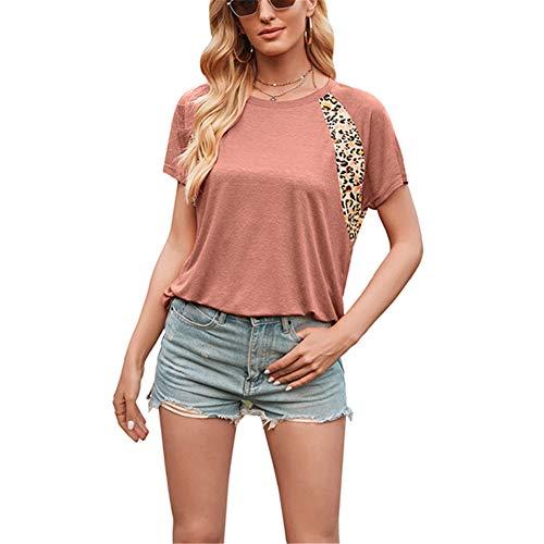 ZFQQ Tops de Primavera y Verano Camiseta de Manga Corta con Cuello Redondo y Estampado de Leopardo