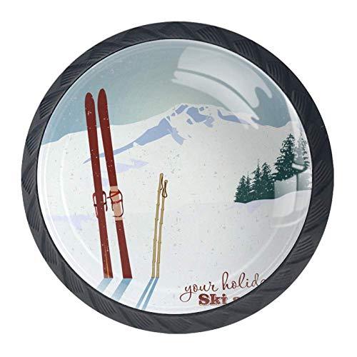 COOSUN Bergen en Oude Snowboard in Sneeuwlade Knop Pull Handvat Kristal Glas Cirkel Vorm Kast Trekken Kast Knopen met Schroeven voor Thuis Kast Kast Cupboard 4 Stuks