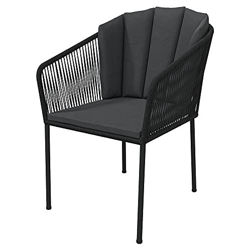 Selsey Horna - sedia da giardino - nero/grigio scuro - con i cuscini