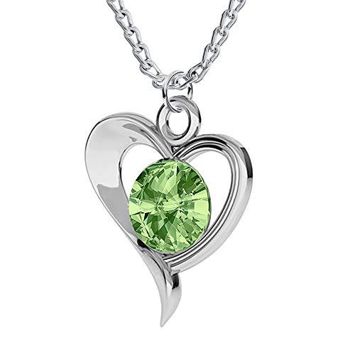 *Beforia Paris* Halskette - Herz Rivoli - Viele Farben - mit Silberkette aus 925 Silber mit Swarovski® Elements Anhänger, Halskette mit Schmucketui PIN/75 (Peridot)
