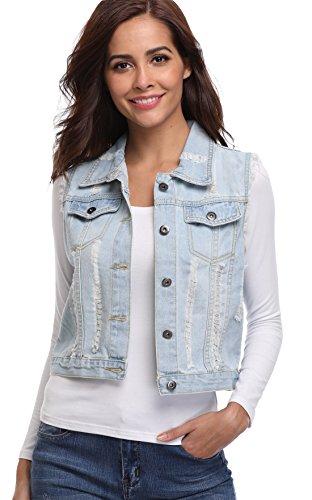 MISS MOLY Damen Jeans Outwear Jeansweste mit Knopfverschluss Kurz Beiläufig Hell Blau - L