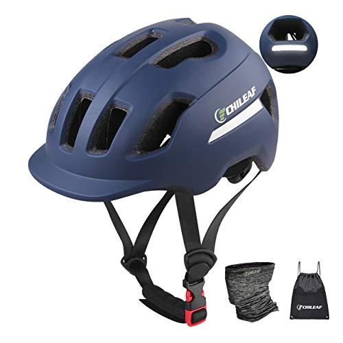 CHILEAF - Casco de bicicleta de montaña para adultos con bufanda de...