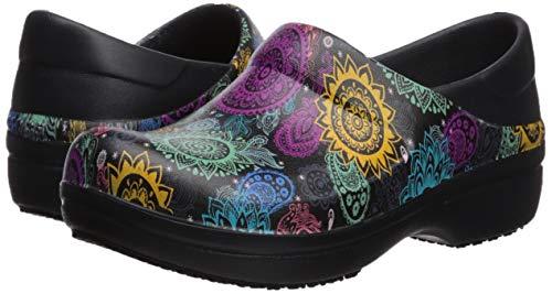Crocs Women's Neria Pro II Clog   Slip Resistant Work Shoes, Black/Multi Floral, 9