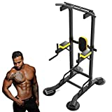 NENGGE Power Tower Workout Dip Station Pull Up Bar for Home Gym Strength Training Fitness Equipment Adjustable Height Multi-Function Exercise Equipment, 2021 Newer Version