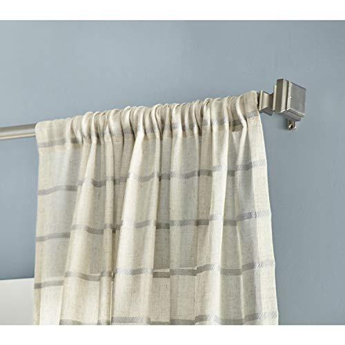 allen + roth Kasa Single Curtain Panel Woven Stripe Sheer Beige with Aqua Stripes 52 x 84