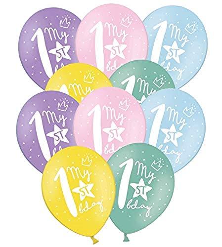 Libetui 10 Starke Pastel Luftballons erster Geburtstag Junge Mädchen Luftballon Deko Set zum 1. Geburtstag Party Kindergeburtstag Dekoration Stern My 1st Birthday