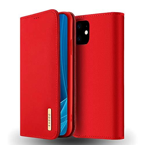 RADOO iPhone 11 (6,1 Inches) Hülle, Luxus Premium Echtes Leder Klapphülle Slim Lederhülle mit Standfunktion und Kartenfach TPU Innenraum Hülle Schlanke Ledertasche Handyhülle (Rot)