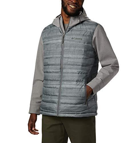 Columbia Powder Lite - Chaqueta de invierno híbrida con capucha, repelente al agua, 4X/alto, estampado de rayas gris