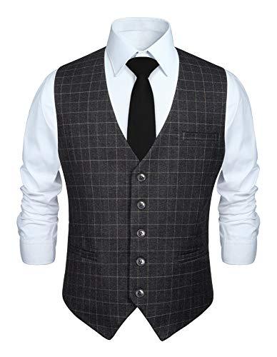HISDERN Gilet da abito grigio da uomo in cotone scozzese in cotone scozzese formale da cerimonia nuziale da uomo
