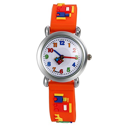 Lancardo Reloj Analógico de Cuarzo Correa de Silicona Dibujos de Bloque de Construcción Pulsera con Dial de Números �rabes de Multicolor Impermeable de 1ATM para Niño Niña Chicos (Naranja)