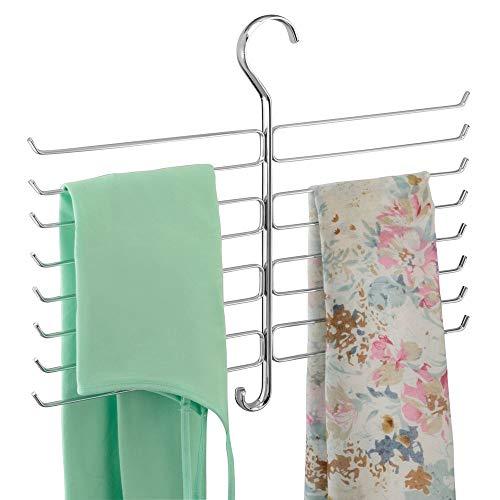 mDesign Kleiderschrank Organizer für Accessoires, Krawatten, Schals, Handtaschen – Halterung zur Aufbewahrung von Kleidung – Chromfarben