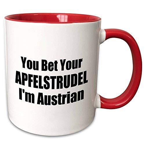 Queen54ferna Je inzet je Apfelstrudel Ik ben Oostenrijk. Ik kom uit Oostenrijk Strudel Pride Keramische mok, 11 Oz, Rood/Wit