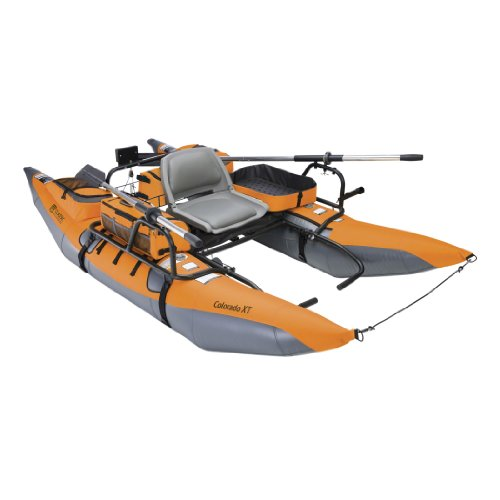 Classic Accessories Colorado XT Inflatable Fishing Pontoon Boat With Transport Wheel & Motor Mount, Pumpkin