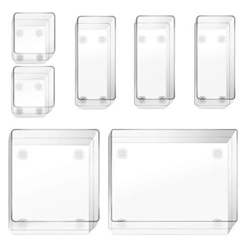 EDATOFLY 7 Trozo Organizadores Transparentes para Cajones, Divisores de Bandejas de Plástico para Cajones, Escritorio,Maquillaje, Baño, Cocina y Oficina (4 tamaños diferentes)