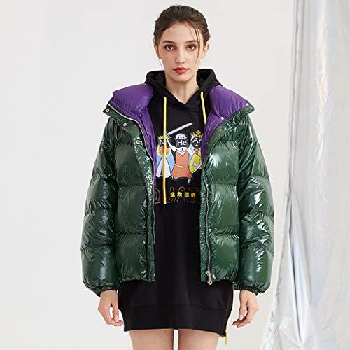 FAPROL-Down Jackets Femmes Doudoune Courte, Manteaux Chauds Hiver Manteau De Duvet De Canard Blanc Revers, Veste De Couleur Unie Mode Green S