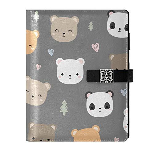 Cuaderno de cuero para diario, cuaderno de viaje, bonito oso panda rellenable A5, encuadernador de anillas – Tapa dura para regalo para mujeres y hombres