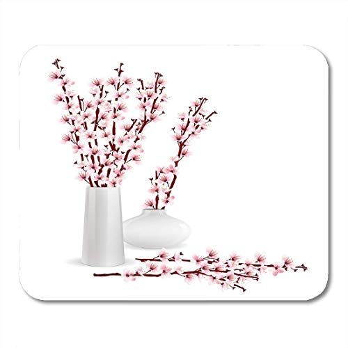 Mauspads Rosa künstlerische Kirschblüte Sakura-Zweige in Vasen auf weißer Blume Anordnung der Frühlingsblumen-Mauspads für Notebooks, Desktop-Computer Büromaterial