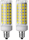 E11 Led Bulb 6W, Dimmable, 75W 100W Halogen Bulb Replacement, Replaces T4 Jd E11,Daylight White 6000K for Indoor Decorative Lighting Pack of 2