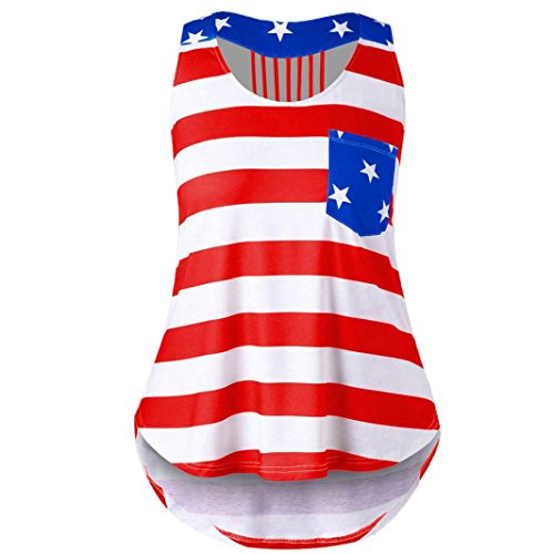 BCDshop Tanks Tops Women US American Flag Casual Fashion Pocket Sleeveless T-shirt Shirts Blouse (Red, L)