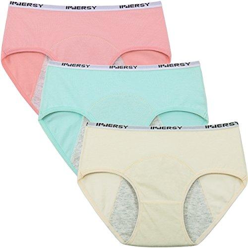 INNERSY Teen's Leakproof Period Panties Cotton Menstrual Protective Underwear Women's Postpartum Briefs 3 Pack(X-Large, Solid 1)