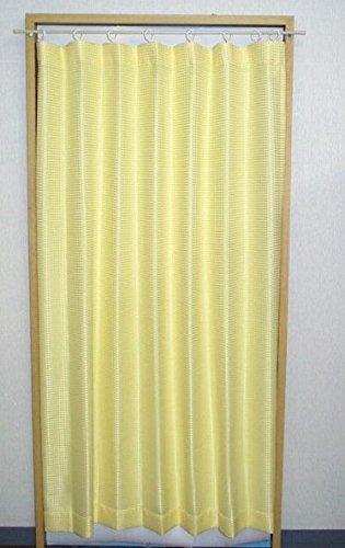 ソフトアコーディオンカーテン ワッフル レモンイエロー 幅フリーサイズ(適用サイズ:W850-1200 x H1780mm) ポリエステル100%