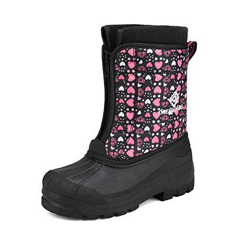 DREAM PAIRS Girls Cold Weather Insulated Waterproof Winter Snow Boots Black Pink Size 2 Little Kid Kstar