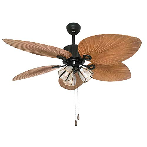 Palm Island Bali Breeze Ceiling Fan, Five Palm Leaf Blades, Tropical Fan, With Remote Control (52 inches) (Brown 3 Lights)
