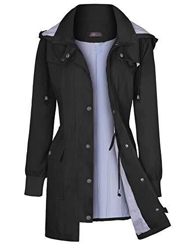 Women Rain Jackets Hooded Lightweight Raincoat Outdoor Waterproof Windbreaker Black M
