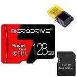 Gmjay Tarjeta Micro SD Tarjeta de Memoria TF de Alta Velocidad de Clase 10 con Lector de Adaptador para Cámara, Teléfono, Computadora, Cámara de Tablero,128GB