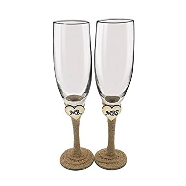 Set of 2 Rustic Champagne Flute Glasses,Mr and Mrs Champagne Glasses,Bride and Groom Wedding Toasting Glasses Drinking Glasses Engraved Heart for Engagement Wedding Gift Anniversary Present