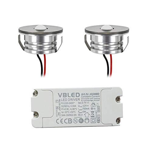 VBLED® LED Aluminium Mini Einbaustrahler Spot IP65 wassergeschützt - 3W 700mA 190lm warmweiß (3000 K) (Einbauleuchte 2er Set mit dimmbarem Netzteil) [Energieklasse A+]