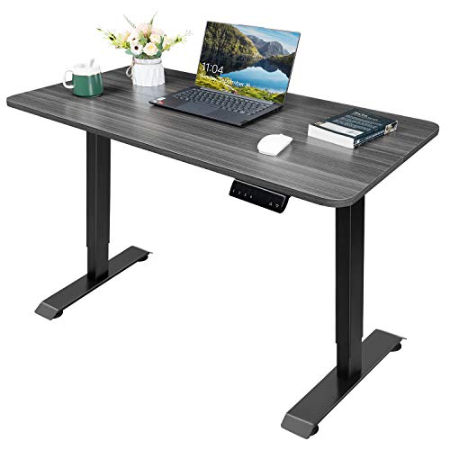 KAIMENG Standing Desk Electric Height Adjustable Desk Home Office with Single Motor Computer Table Stand Up T-Shaped with 110 cm x 60 cm Wood Desktop (Gray)