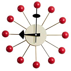 SHISEDECO Mid Century George Nelson Ball Clock, Painted Solid Wood Non Ticking Decorative Modern Silent Wall Clock for Home, Kitchen,Living Room,Office etc. - Retro Design (Ball Clock in Red)