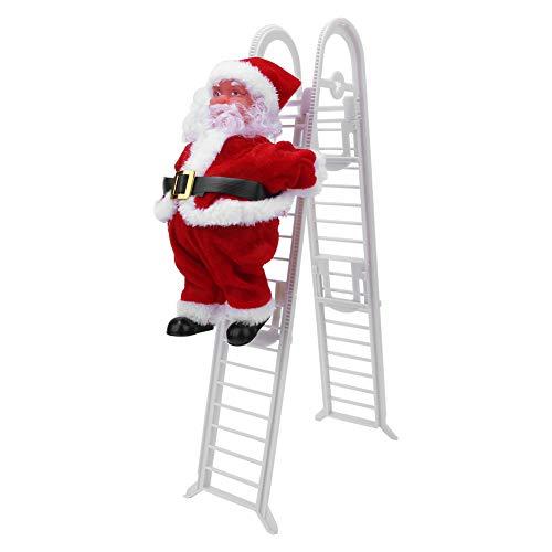 Yeelur Kletternder Weihnachtsmann, Elektrischer Weihnachtsmann Kletterleiter Weihnachtsmusik Spielzeug Kletternder Weihnachtsmann Auf Leiter(Upgraded Double Ladder (Sufficient Stock))