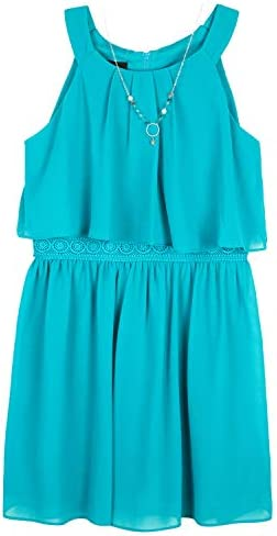 Amy Byer Girls Halter Popover Dress with Decorative Trim at Waist Sunset Teal 10 product image