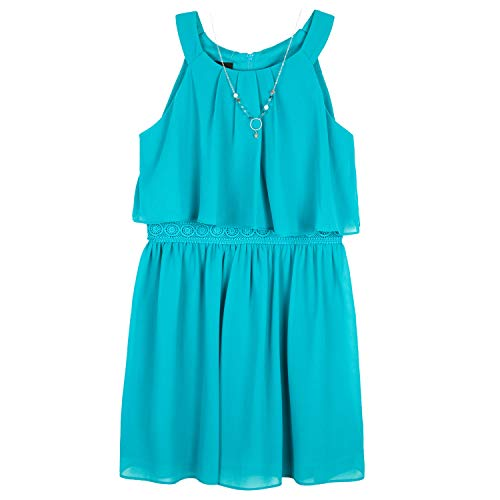 Amy Byer Girls' Halter Popover Dress with Decorative Trim at Waist, Sunset Teal, 7