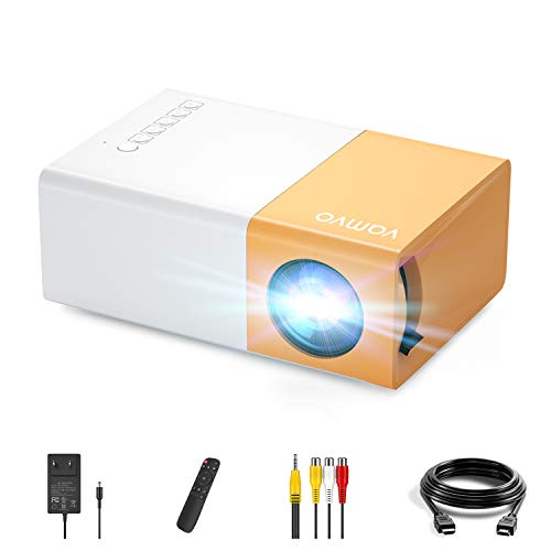 YG 300 Pro Proyector, Vamvo L2600 Mini Proyector Portátil para Movil, Soporta 1080p Full HD,Regalo Navidad Infantil, Recargable, Compatible con USB/HDMI/SD/AV