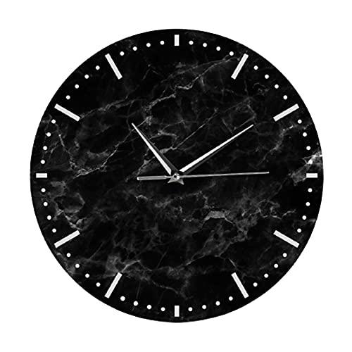 Reloj de Pared Clock Redondo Decorativos Esfera de ImitacióN de MáRmol AcríLico Manecillas FáCil de Leer para Sala de Estar,Black