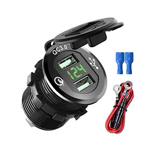 YULUBAIHUO QC3.0 Dual USB Cargador rápido Toma de Aluminio Toma de Corriente Impermeable con voltímetro Digital LED para Barco Marino Camión de Motocicletas (Color Name : Green Add Wire)