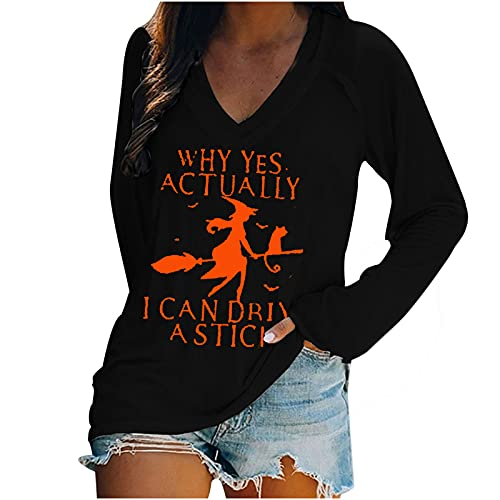 Halloween Costumes for Women Fall Clothes Long Sleeve Shirts Casual V Neck Blouse Tops Halloween Witch Print Tunics Black