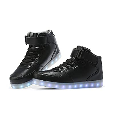GELONG LED Shoes High Top Breathable Sneakers Remote Light Up Shoes USB Charging Flashing Luminous Trainers for Festivals,Christmas Party for Women Men Girls Boys (9.5 Women / 8 Men, Black)
